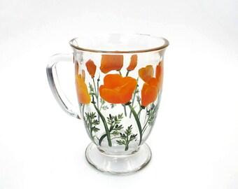 California Poppies Hand Painted Tall Glass Mug Orange Poppy Mug