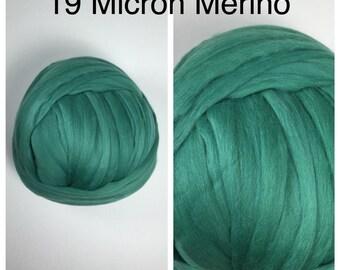 Green Merino Top / 19 Micron Merino Roving / Dill Merino Felting / 2oz 4oz 8oz