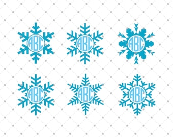 Christmas Snowflake SVG Cut Files, Snowflake SVG, Christmas Snowflakes Monogram Frame SVG Cut Files for Cricut and Silhouette, svg files