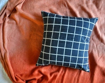 Navy Plaid Check Grid Print Envelope Cushion Cover