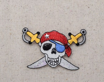 Pirate Skull - Jolly Roger - Skull with Swords - Iron on Applique - Embroidered Patch - 156565A