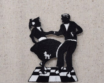 50s Dancing Couple - Contest - Poodle Skirt - Sock Hop -  Iron on Applique - Embroidered Patch - 1120953A