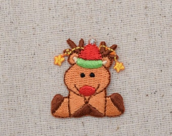 Christmas - Reindeer Sitting - Santa Hat - Iron on Applique - Embroidered Patch - 1135060A