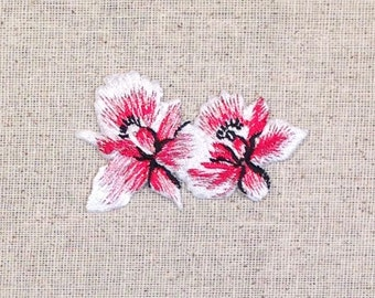 Pink Orchid Flower - Tropical - Two - Iron on Applique - Embroidered Patch -  692720B