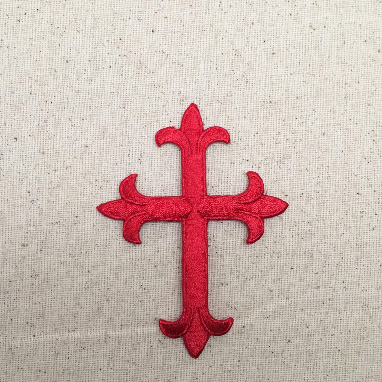 Fleur De Lis Religious Cross Red 4 Embroidered