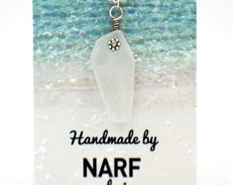White Maine Sea Glass Pendant Necklace