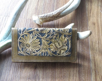 Floral Hand-Tooled Leather Wallet