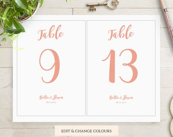 Wedding table number template printable, Wedding number card template, 5x7 and 4x6, Bettie, any colour | DIY Editable printable template