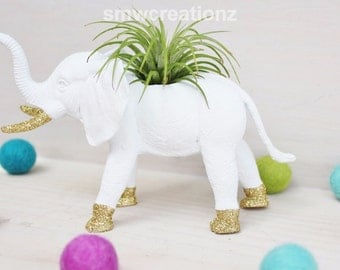 Custom Size Elephant Planter with Air Plant Room Decor- Custom elephant- Home Decor- Birthday Gift- Teacher Gift- Party Favor- Zoo Party