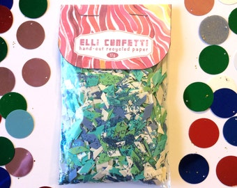 """Hand-cut Recycled Paper Confetti, Gender Reveal Confetti, Blue and Green Confetti- Elli Confetti - """"It's A Boy"""""""