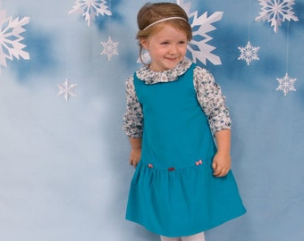 Baby girl dress in turquoise with 3 little bows