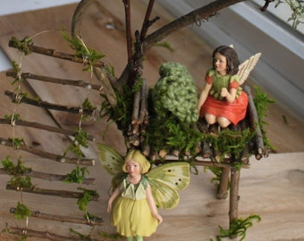 Fairy Bed ~ Tall Grass Fairy Bed with Ladder Includes Buttercup Fairy and Geranium Fairy , Fae Bed, Faerie Bed , Faerie Garden