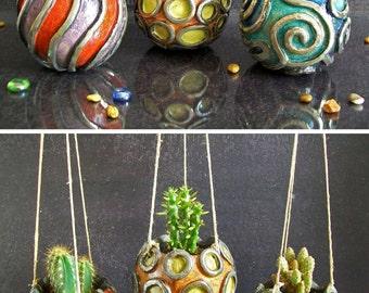 raku pottery planter pot set, hanging planter pot, ceramic succulent pot, ceramic planter pot, flower pot, garden decor, beach home decor