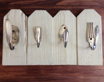 Fence Post with Silverware Hooks Jewelry Holder