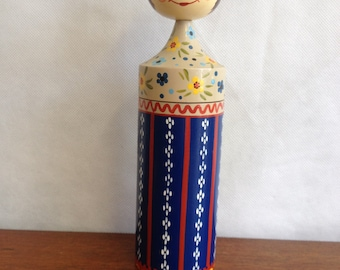 Scandinavian Folk Art Rare and highly collectible Vintage 1950's wooden doll.