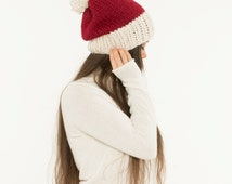 Chunky Knit Slouchy Hat Two Tone Pom Pom Wool Beanie, Ribbed 2 Color Knitted Slouch, Textured Women's Warm Handmade Winter Accessory