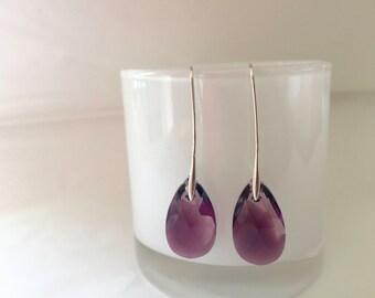 Purple Swarovski Crystal Earrings, Sterling silver, Long drop, Purple earrings,  Pear shape crystal, thehappylittlebeader