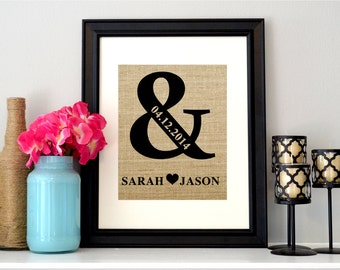 Ampersand Sign on Burlap