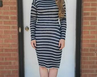 Striped Navy White Sweater Dress/ Midi/ Knee-Length/ Long Sleeves
