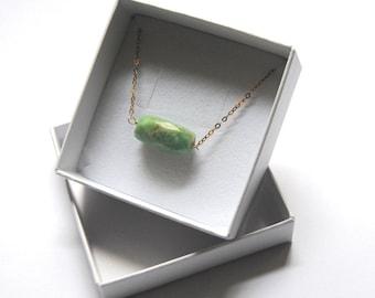 Amazonite necklace, minimalist necklace, 14kt gold chain necklace, green amazonite