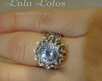 Lakshmi Mantra natural rock crystal ring