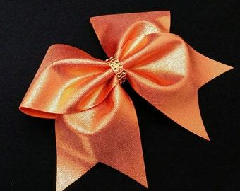 Orange cheer bow, Cheer bow, cheerleading bow, cheerleader bow, cheer bows, softball bow ,large cheer bow, dance bow, large hair bow, bow