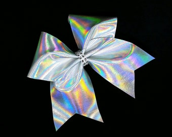 Cheer bow, Silver cheer bow, holographic cheer bow, Cheerleading bow, Cheerleader bow, Dance bow, Softball bow, Cheer bows, cheer camp bow