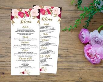 Printable Wedding Menu, Floral Wedding Menu, Wedding menu Printable, Rustic Wedding Menu, Menu cards, Wedding menu gold, Digital image