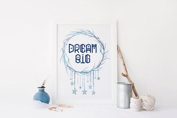 dream big dreamcatcher print boho dreamcatcher blue feather print tribal print boho print tribal nursery native american art tribal wall art