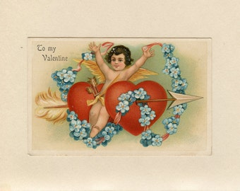 Vintage Valentine's Day Postcard Cupid Angel Two Red Hearts Blue Forget Me Nots Pink Ribbon Arrows Embossed Unused Arthur Schurer - 7104Pb