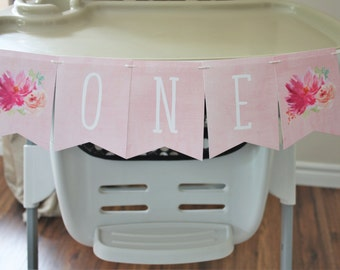 First Birthday. Banner. One. Babys first. Floral Banner. Watercolor. Birthday Party. Custom. Blush. Decoration. Highchair. Girl. Pink. Sweet