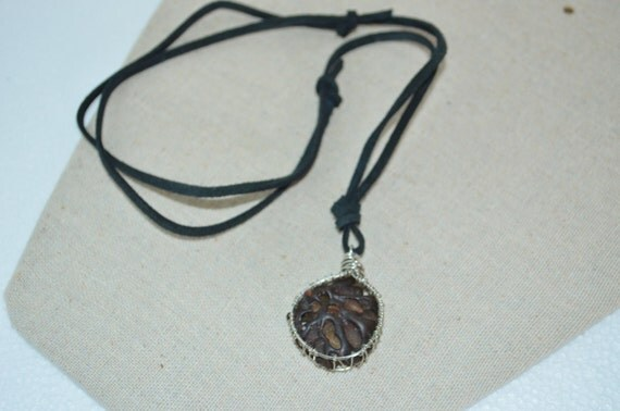 Necklace Beach Junk, Black Leather & Wired Beach Fossil Necklace, Cool Beach Junk Necklace, Wired Beach Fossil Necklace, Suede fossil Choker