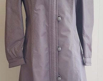 Vintage j. gallery Gray Pinstripe Raincoat, Trench Coat, Button Down Coat with Liner