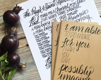 Prayer, Journal, Scripture Gift, Hand Lettered, Personalized, Notebook, Moleskine
