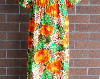 "MuuMuu, 1970's cotton Sears orange & greens made in California with one pocket  44"" bust"