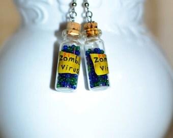 Zombie Jewelry, Zombie Earrings, I love zombies, Zombie Virus, Halloween Jewelry, Halloween Earrings
