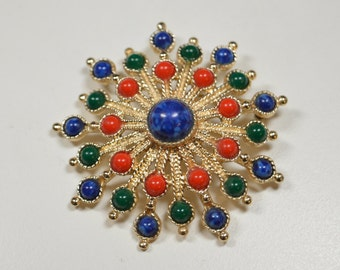 Vintage Sarah Coventry Pin Brooch Carnival Brooch Red Blue Green Goldtone Starburst Pin Brooch Coventry Jewelry Statement Pin