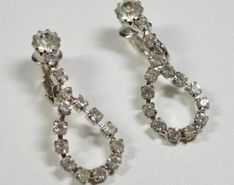 Vintage Clear Rhinestone Drop Dangle Clip Earrings Special Occasion Bridal Wedding Rhinestone Earrings Statement Rhinestone Earrings