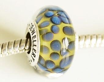Artisan Lampwork glass Charm bead. Silver cored bead. Large hole lampwork bead, Fits Pandora, European Charm Beads Handmade Boro glass beads