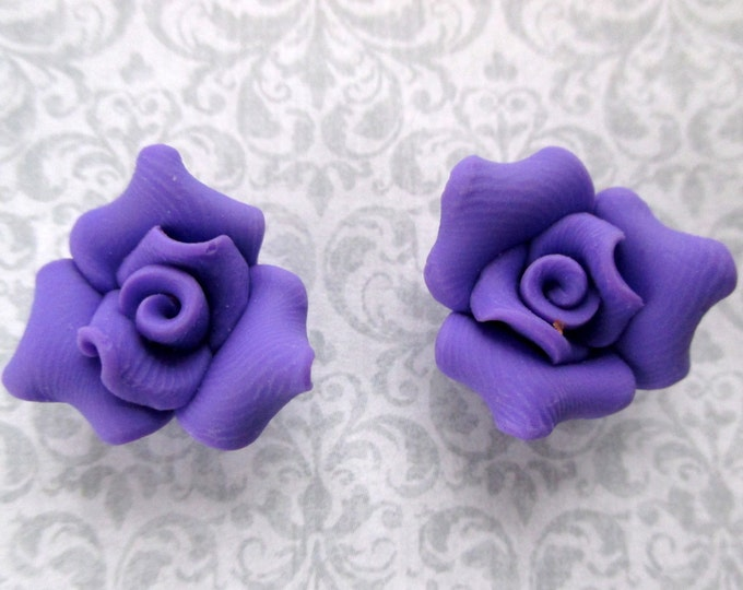 Purple rose earrings-Rose studs-Clip on earrings-Polymer Clay-mothers day jewelry-violet rose-clip on earrings for women-handmade-gifts for
