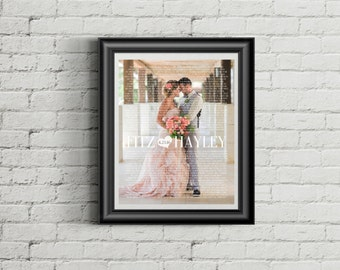 Custom PRINTABLE Wedding Vows/Song Lyrics and Wedding Picture Art Print File with Modern Font