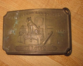 Vintage Wells Fargo Souvenier Belt Buckle with a Dog & St Louis-Signed Tiffany New York