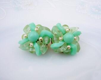 Vintage 60's Mod Mint Seafoam Green Beaded Clip On Earrings