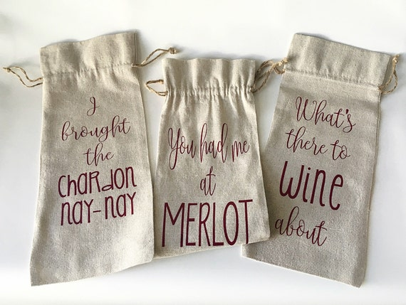 Wine gift bag hostess christmas by ohlolaandco