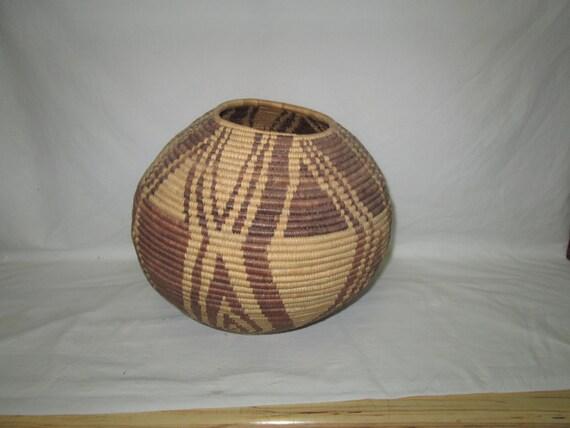 Kenyan Handmade Baskets : Vintage african handmade basket large estate sale find