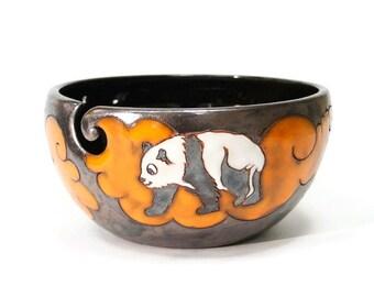 Yarn Bowl Panda, Pottery Yarn Bowl, Knitting Bowl, Crochet Bowl, Crochet Storage, Yarn Holder, Yarn Bowl, Ceramic Yarn Bowl, Yarn Bowls