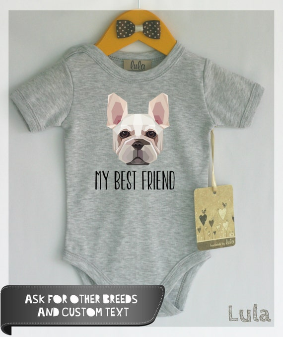 French Bulldog baby clothes. Frenchie baby best friend. French