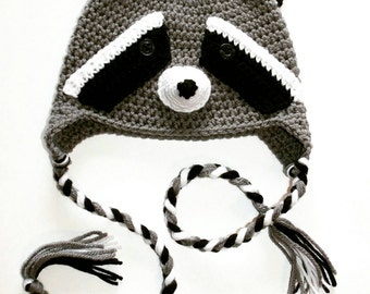 Knitted raccoon cap, crochet coon beanie, animal hat for babies 0 to 12 months old