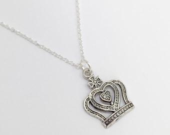 Silver Crown Necklace/Antique Silver Crown Necklace/Royal Crown Necklace/Silver Princess Crown/Silver Queen Crown