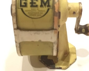 Vintage The Gem Industrial Pencil Sharpener with Celluloid Basket